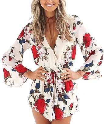 949b2a9066b3 Amazon.com  Relipop Women s Floral Print Long Sleeves Short Romper Playsuit  Jumpsuit  Clothing
