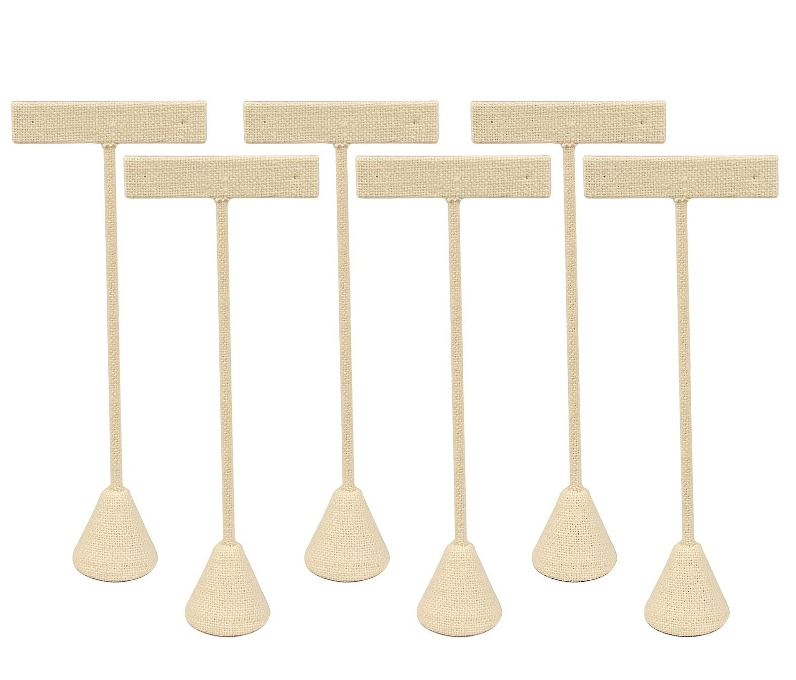 6-Pack 5.75'' Tall - Beige Linen Earring T Stand Display T Shape Showroom and Tradeshow