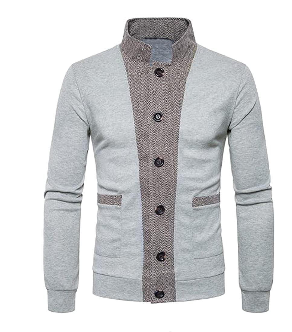 Fensajomon Mens Button Point Stand Collar Knitted Slim Fit Cardigan Sweater Light Grey XXL