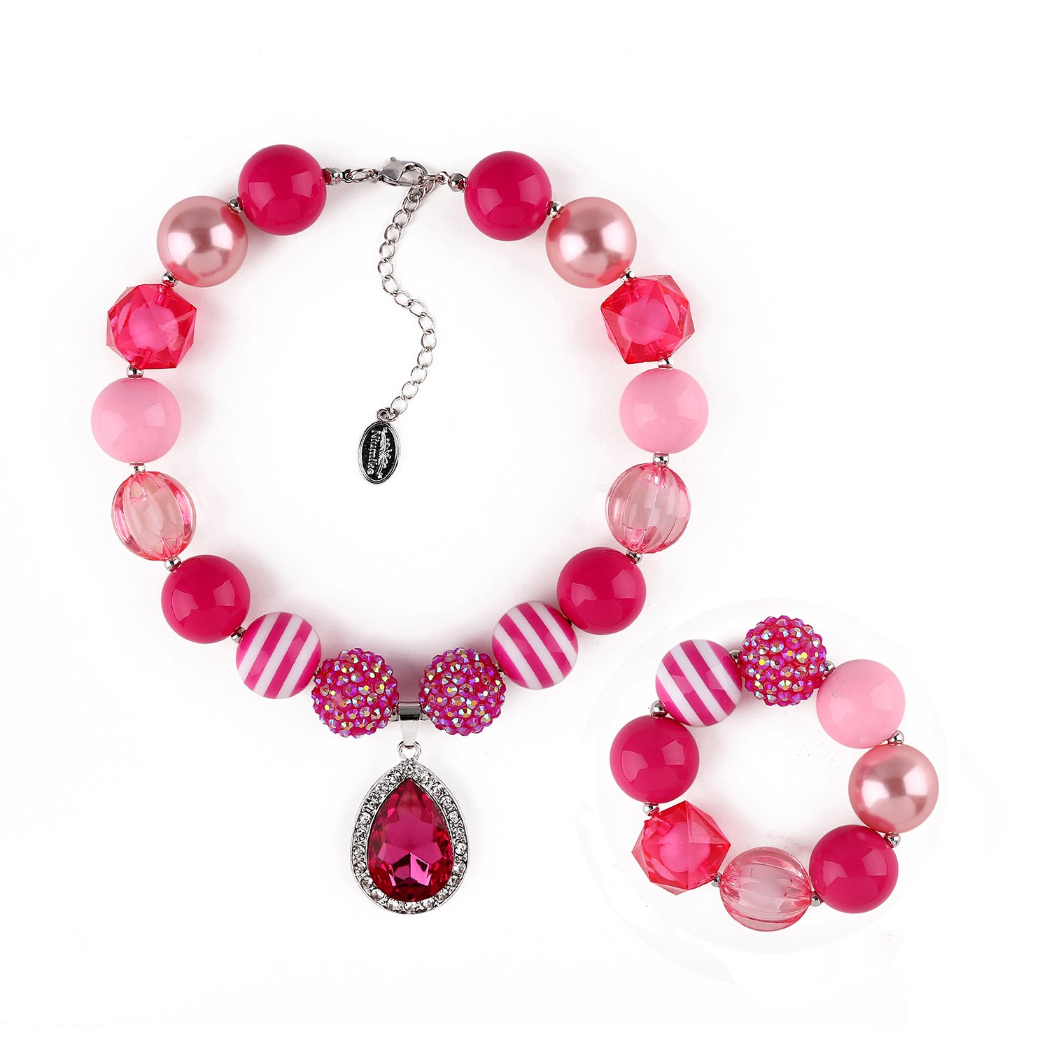 Niumike Little Girl Lightweight Chunky Bubblegum Necklace and Bracelet Set with Teardrop Crystal Pendant for Kid Birthday Gift, Box Box (Pink)
