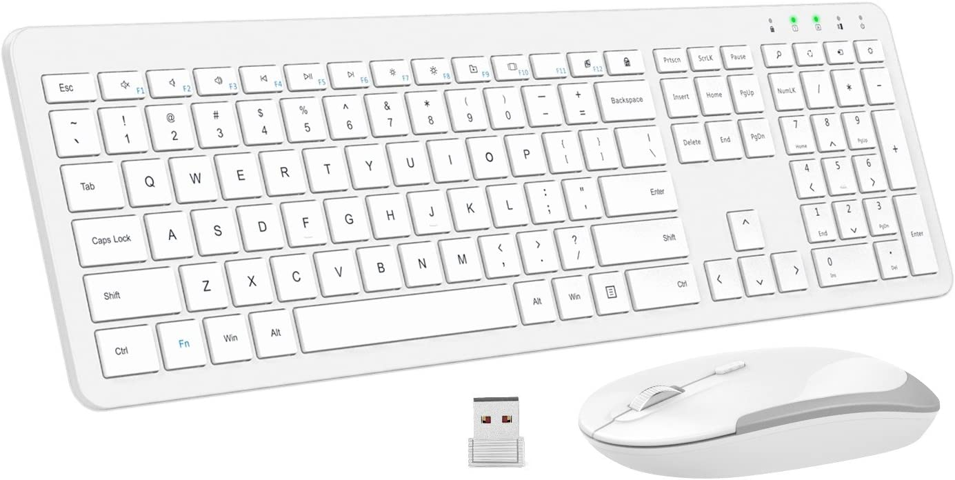 MoKo Slim Teclado y Ratón Set,Ultrafino Combo inalámbrico de Teclado y Mouse inalámbrico Full-Size de 2.4G con Nano USB Receiver para Android, Windows, computadora de Escritorio, PC, portátil, Blanco
