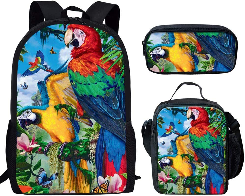 Coloranimal 17 Inch School Backpack with Lunch Box Pencil Case 3 Piece Bookbags Set Colorful Animal Bird Parrot Schoolbags
