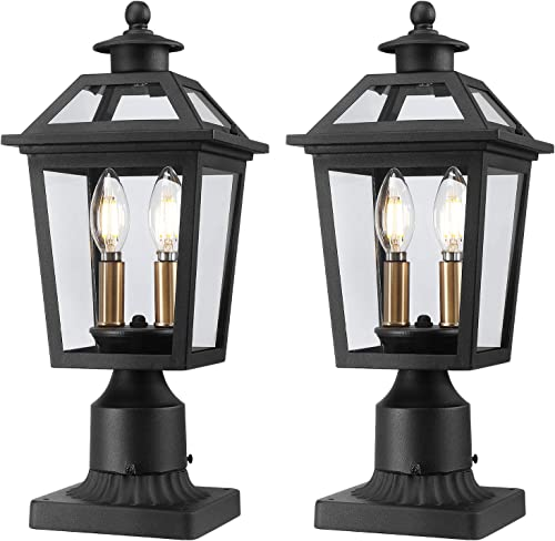 Beionxii Outdoor Post Lights Exterior Post Lantern Pillar Light with 3-inch Pier Mount Adapter, Sand Textured Black with Clear Glass – A329P-2PK