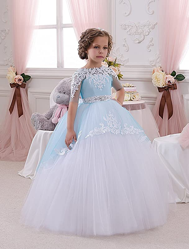 Amazon.com: Lisa Elegant Half Sleeves Lace Flower Dresses Ball Gown First Communion LS181: Clothing