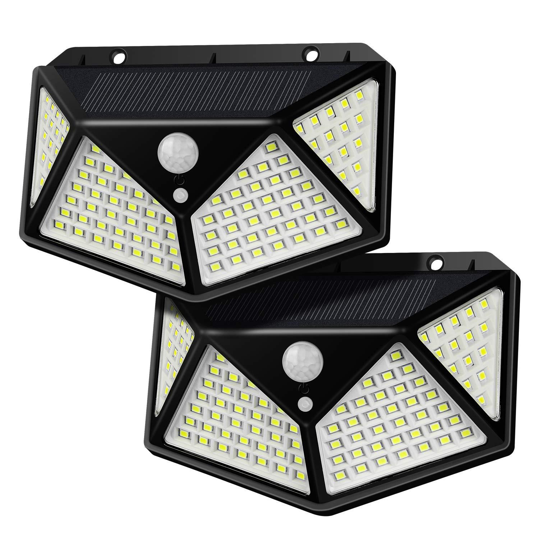 Solar Lights Outdoor, 100 LED Solar Lights, 270°Wider Angle, 120°& 17Ft RIP Motion Sensor light,IP65 Waterproof, Security Night Light for Pathway, Garage, Garden,Patio, Deck,Fence,Yard,2 Pack