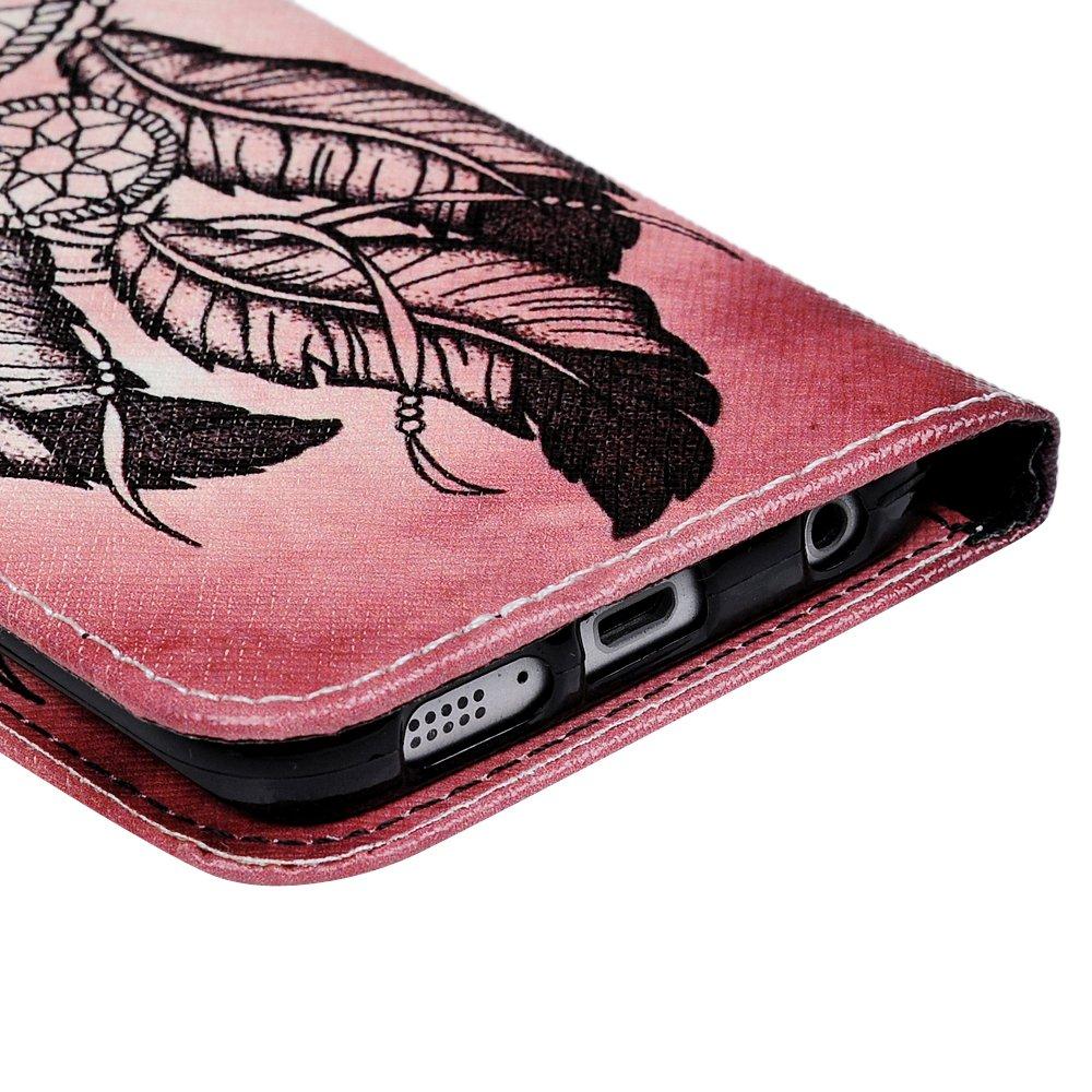 Gemalt Leder Handyh/ülle Klappbares Brieftasche Schutzh/ülle Wallet Case Cover mit Integrierten Kartensteckpl/ätzen Windspiele Mlorras H/ülle f/ür Samsung Galaxy S6 Edge