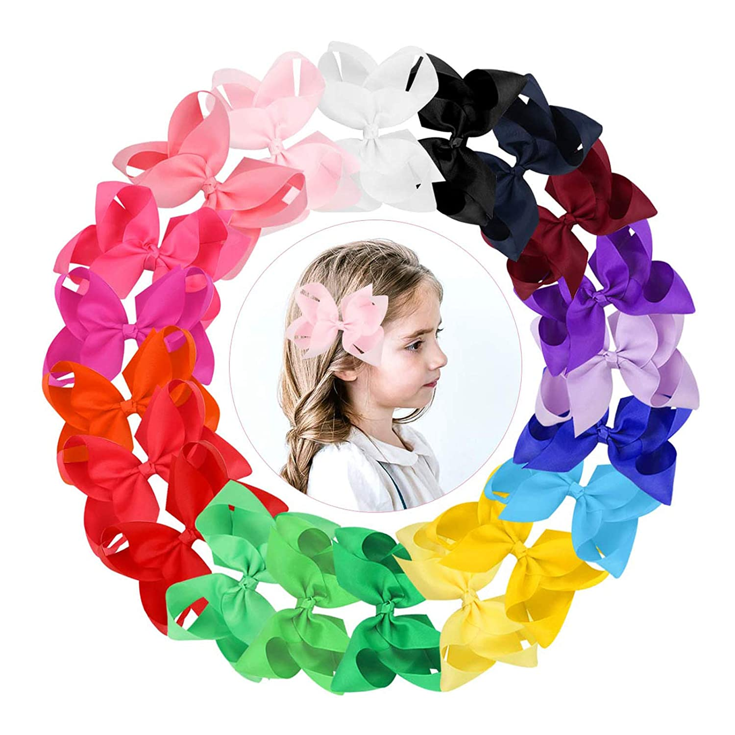 Classic Size Hairbow  Fall Hairbow  Baby Headband  Toddler Hairclips  Toddler Hairbow Solid Color Bows  Girls Hairbow  Fabric Bows