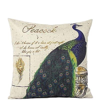 GEZICHTA - Funda de cojín de lino y algodón con plumas de ...