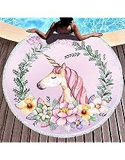 Yansion Unicornio Toalla de Playa Toalla de Microfibra Redonda más Grande Suave Digital Linda Impreso Color