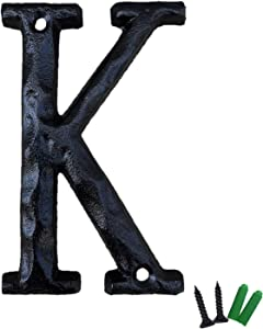 5 Inch High House Letters, Solid Cast Iron Home Address Letters, Perfect Matching Our 5.5 Inch House Numbers, Black Finished (Letter K)