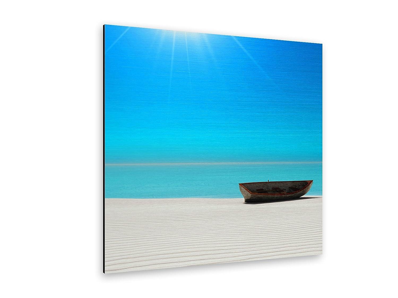 Strand Boot Alu-Dibond Bild Butlerfinish® Butlerfinish® Butlerfinish® ALB00113 Quadratisch 70 x 70cm gebürstetes Aluminium-Bild Wandbild eb617e