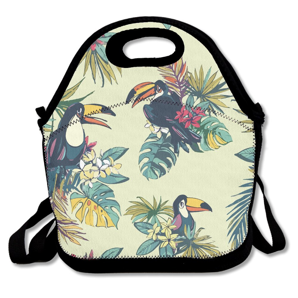 Best4UZ Toucan Palm Lunch Box Bags Lunch Tote Lunch Holder With Adjustable Strap For Kids And Adults For School Picnic Office Travel Outdoor School Best4UMe