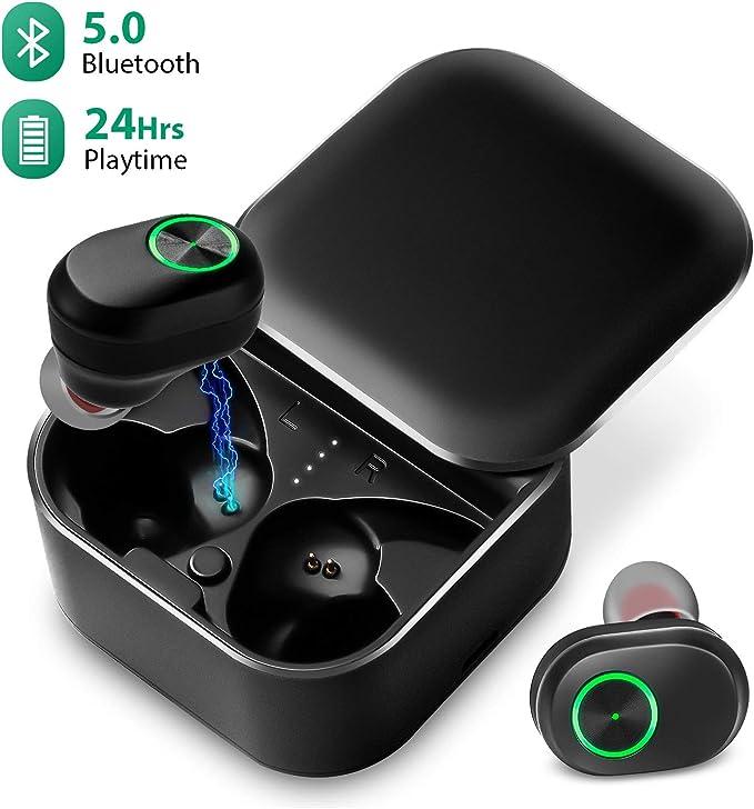 Bluetooth 5.0 Inalámbricos Auriculares En el oido Bajo Estéreo Deporte TWS Auriculares Incorporado Micrófono con Estuche de Carga (Reducción de Ruido, 24H Ciclo Playtime, IPX6 a Prueba de Agua): Amazon.es: Electrónica