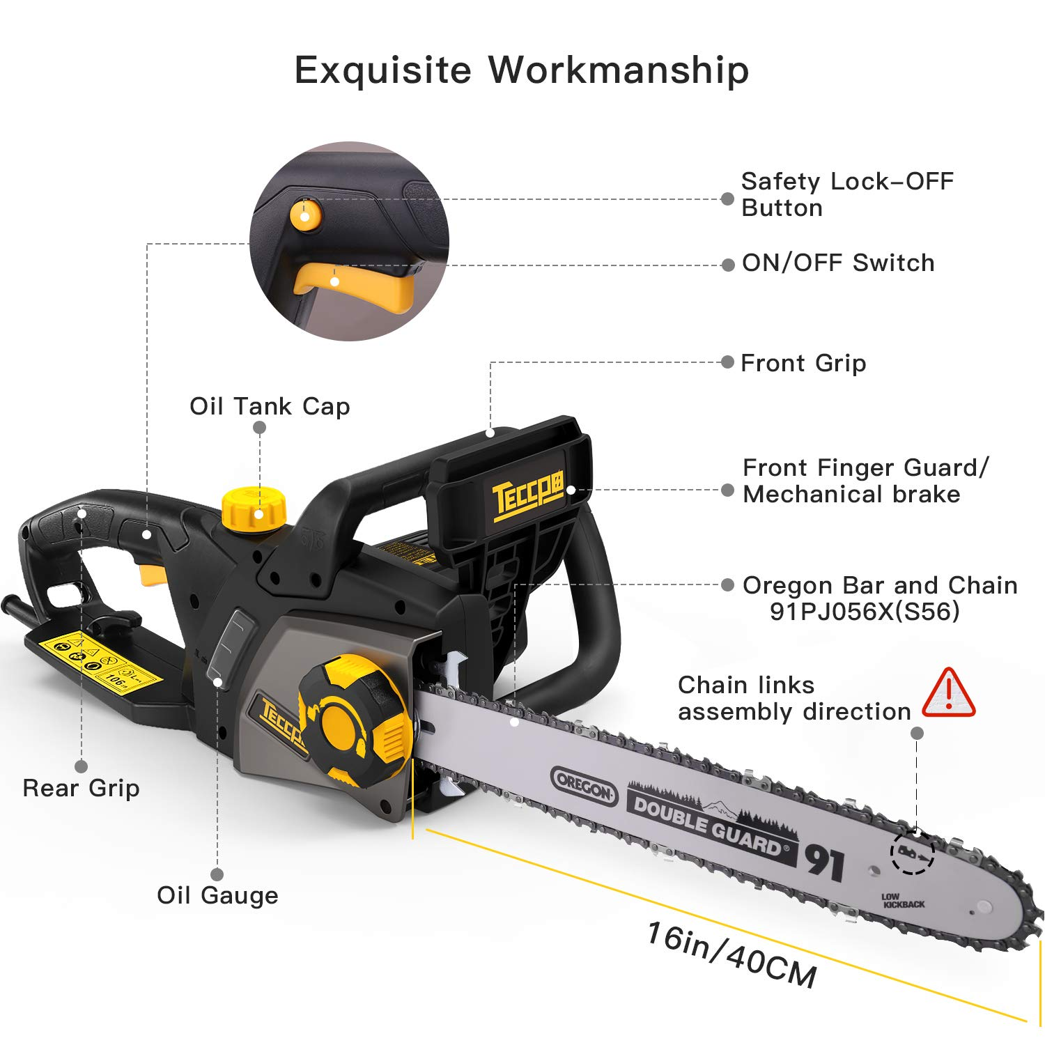 TECCPO Electric Chainsaw, 16-Inch 15 Amp Chain Saw with Automatic Oiler, Tool-Less Chain Tensioning, Mechanical Brake, Low Kickback, 49ft s Chain Speed – TACS01G