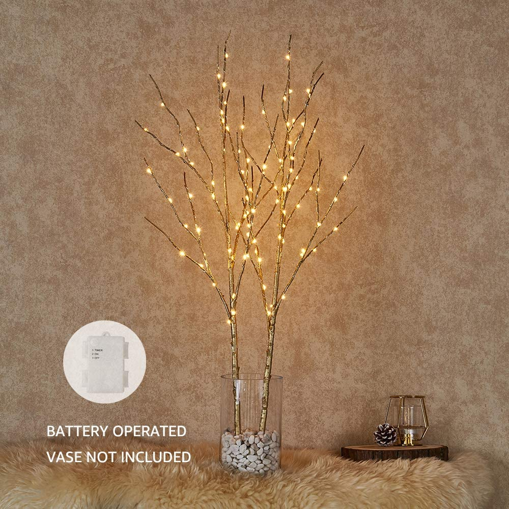 Hairui Lighted Artificial Golden Twig Tree Branch with Fairy Lights 32in 100 LED Battery Operated Lighted Willow Branch for Christmas Easter Wedding Party Spring Decoration (Vase Excluded)
