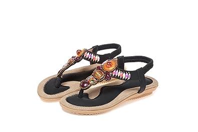 QIN&X Damen Casual Flachem Absatz Boho Strand Sandals