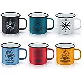 Enamel Camping Mug Set of 6, E-far 16 Ounce Colourful Metal Enamel Coffee Tea Cups Mugs for Camping Hiking Backpacking, 2-Sid