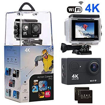 Action Camera, Amuoc 4K WiFi Ultra HD Waterproof Sport Camer...