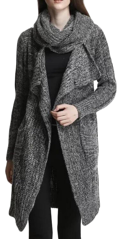 XTT Women's Long Sleeve Knitted Open Front Sweater Cardigan