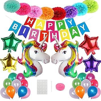 Mattelsen Decoración de Fiesta Arco Iris Niños Pom Poms Globos Unicornio Helio Gigante & Banner de Papel Happy Birthday con Látex Globos para ...