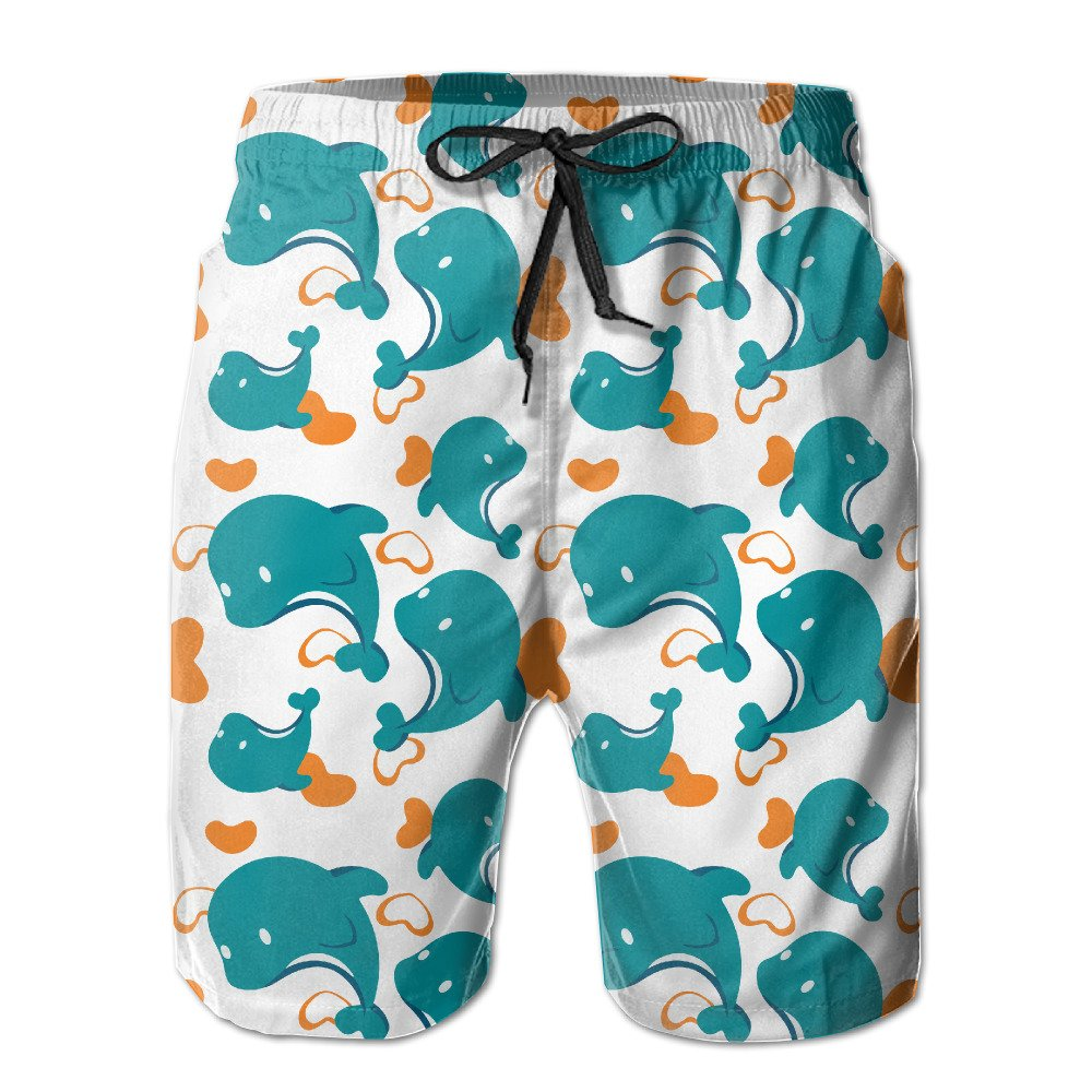 4417e5cd MALAA Mens Miami Dolphin Cartoon Cute Pattern Summer Quick-drying Swim  Trunks Beach Shorts Cargo Shorts