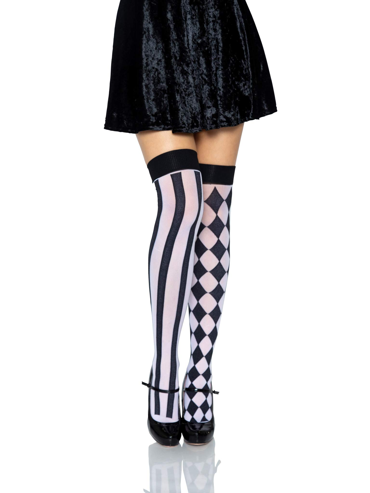 Women's Harlequin Thigh Highs, black/White, One Size