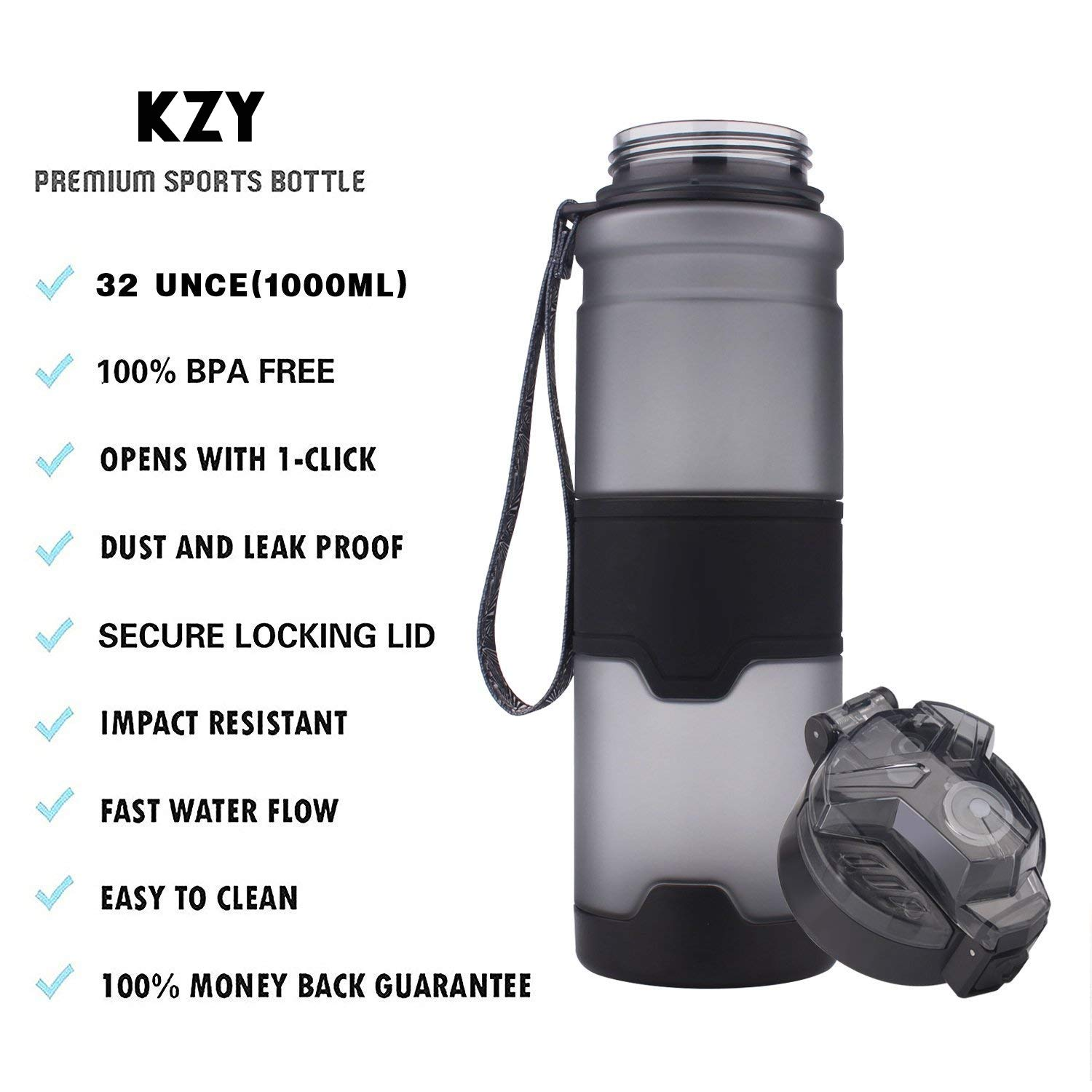 Kids//Adults Drink Bottles with Filter,Flip Top,Lockable Lid Open with 1 Click Kang Zhi Yuan BPA Free Leak Proof Plastic Bottles for Outdoors,Camping,Cycling,Fitness,Gym,Yoga