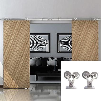 Hahaemall Modern Interior 8 16FT Y Shape Stainless Steel Barn Door Hardware  Sliding Top