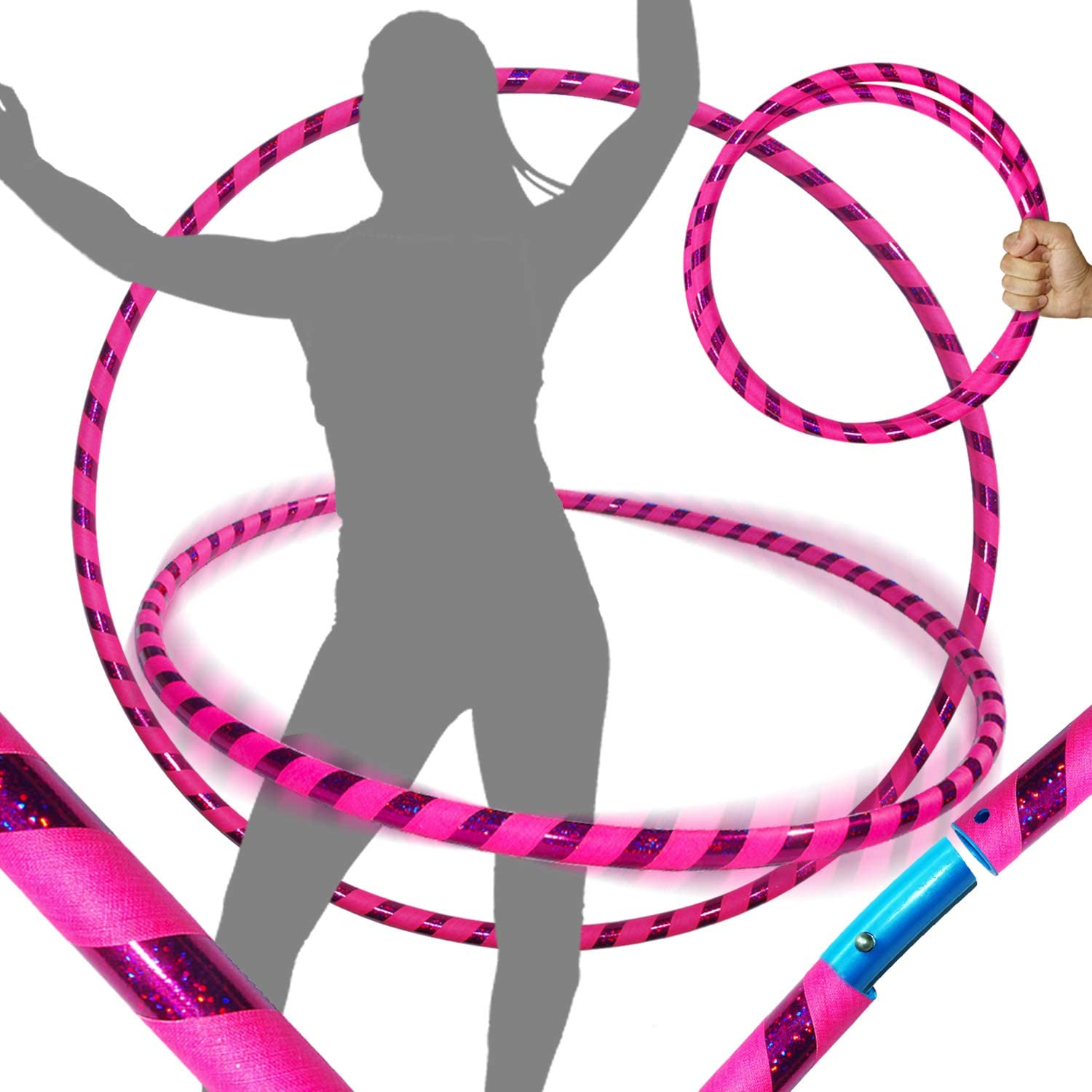 100cm//39 640g PRO Adult Hoops Same Day Dispatch! Weighted TRAVEL Hoop NO Instructions Needed Dance /& Fitness! Ultra-Grip//Glitter Deco Hoops For Exercise