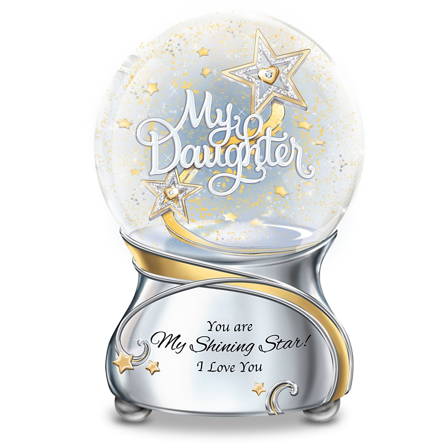 My Daughter You Are My Shining Star Illuminated Musical Glitter Globe Lights Up by The Bradford Exchange
