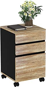 YITAHOME 3 Drawer Wood File Cabinet, Mobile Desk Drawer Storage Cabinet with Casters Under Desk for Home Office Organization, Oak