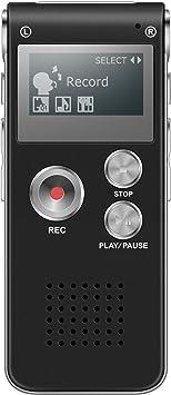 grande variété de modèles vente chaude en ligne meilleure sélection de Dictaphone Numérique, TENSAFEE 8g Dictaphone Magnétophone, Portable  Rechargeable HD avec double micro enregistreur audio enregistrement claire  voix ...