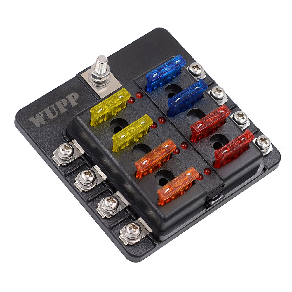 Blade Fuse Box Holder with LED Warning Indicator Damp-Proof Cover ST 8 Way Fuse Block for Car Boat Marine RV Truck DC 12-24V