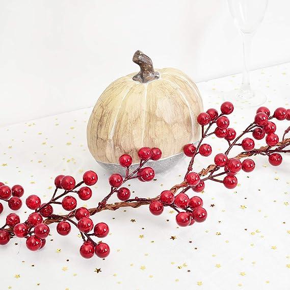 5.9 Ft Christmas Red Berry Garland Artificial Burgundy Red Pip Christmas GarQ1U4