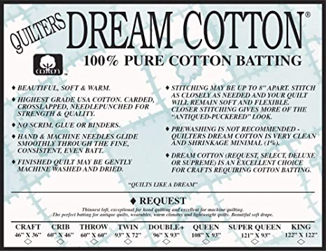 Quilters Dream Angel Select Mid Loft Batting Craft Size