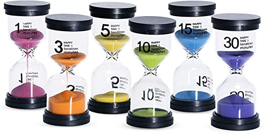 Kusmil Sand Timer 6 Colors Hourglass 1/3/5/10/15/30 Minutes Sandglass Timer Sand Clock for Kids Games Classroom Kitchen Home Office Decoration (Pack ...