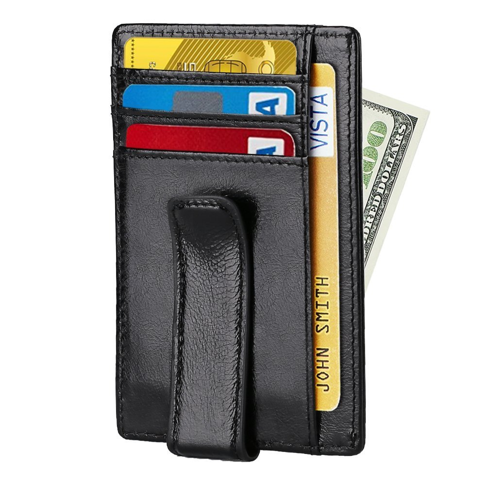 【2018 Newest】RFID Wallet for Men, Beartwo Minimalist Genuine Leather Wallet Money Clip with ID Window (oil wax leather-black)