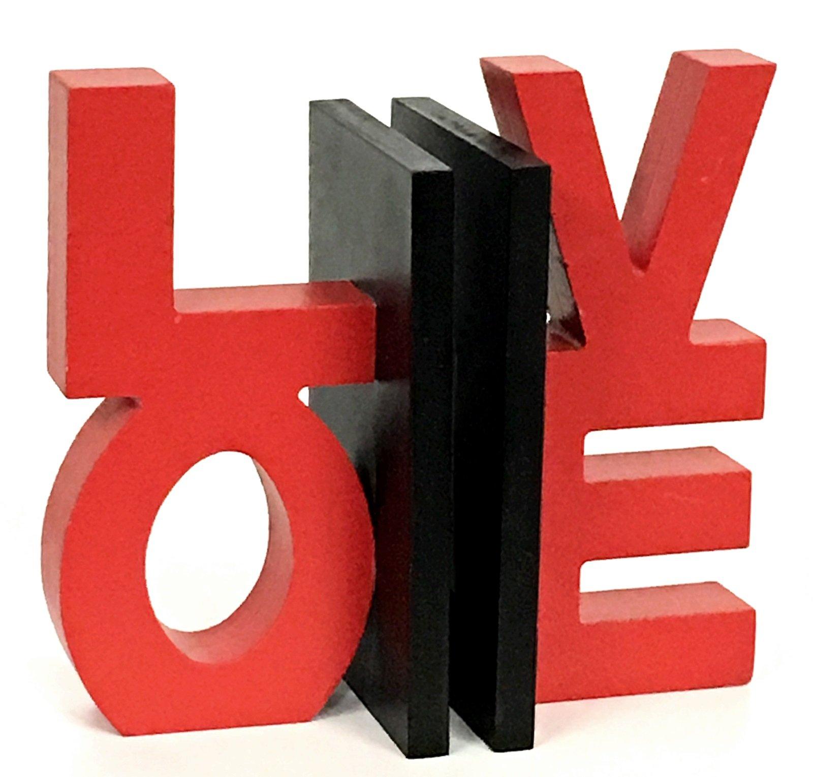 Bellaa 22762 Love Word Bookends Inspirational Bookshelf Decor 7.5'' inches Tall