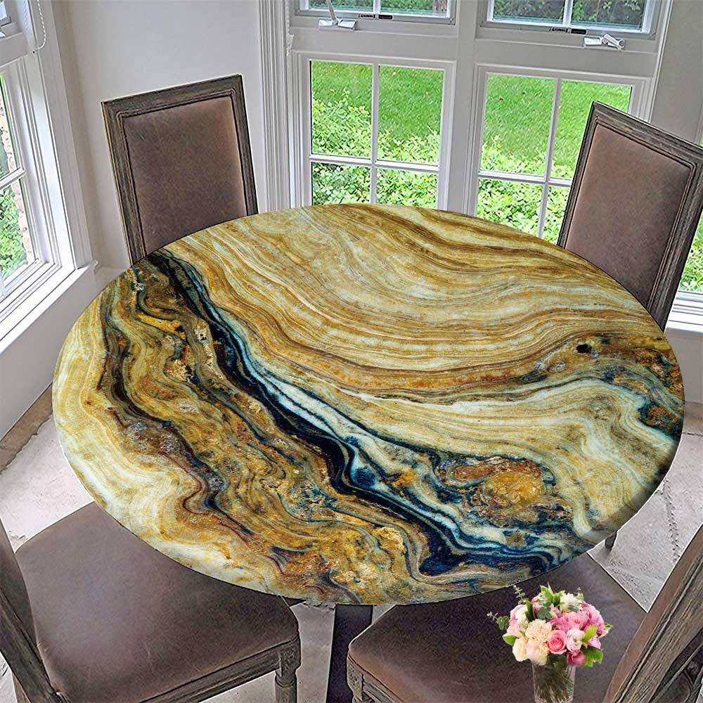 "PINAFORE HOME Modern Simple Round Tablecloth Marble Stone Background Granite Elegance Effect Slab Vintage Background Decoration Washable 40""-43.5"" Round (Elastic Edge)"