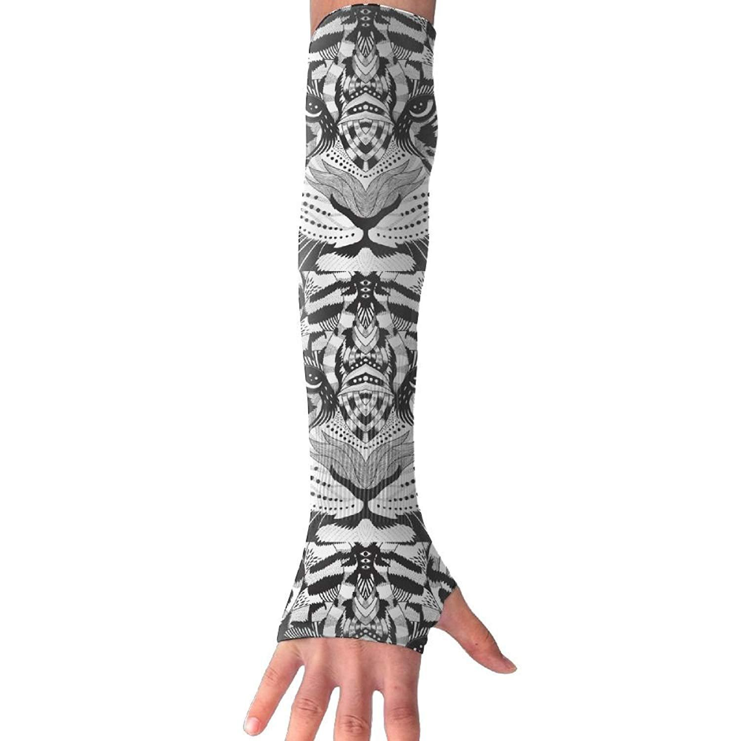 Unisex Simple Lines Black Tiger Head Sunscreen Outdoor Travel Arm Warmer Long Sleeves Glove