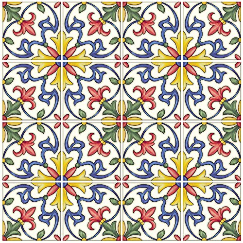 In Home NH2365 Tuscan Peel & Stick Backsplash Tiles, Multi-Color (Multicolor Mosaic Tile)