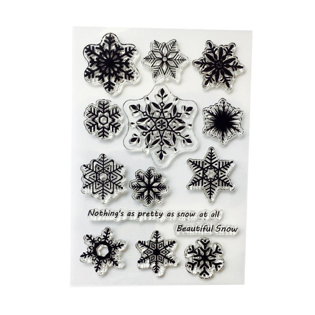 Feamos Clear Stamps Snowflake Silicone Stamp for Cards Making DIY Scrapbooking Album Cling Seal Craft Decor Gift