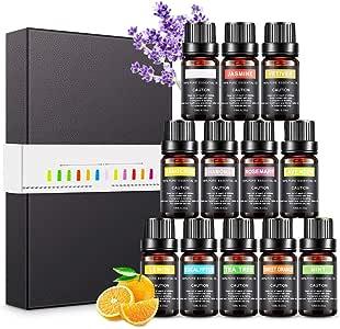 Aceites Esenciales para Humidificador, Set de Aceites de Aromaterapia Aromático para Difusor, 100% Puro Natural Lavanda Eucalipto Hierba de Limón, Menta, Eucalipto, Árbol de té (12 x 10 ml)