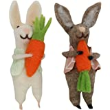 Wool Mix Brown and White Easter Bunny Decorations Set of Two Gisela Graham