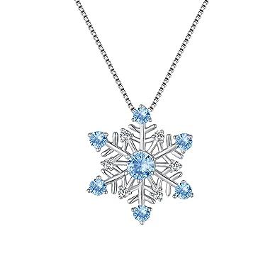 De Argent 925 Forme Cristal Fanze Flocon Bijoux Neige Collier Hiver K1JclFT3