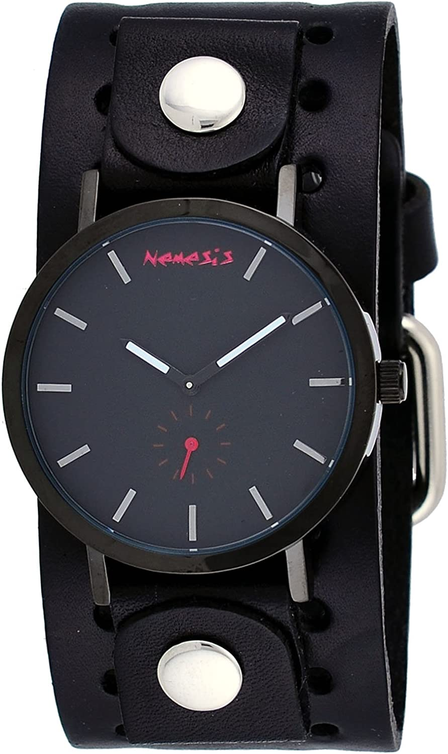 Nemesis BN222K Men s Black IP Blackout Minimalist Dial Wide Leather Band Watch