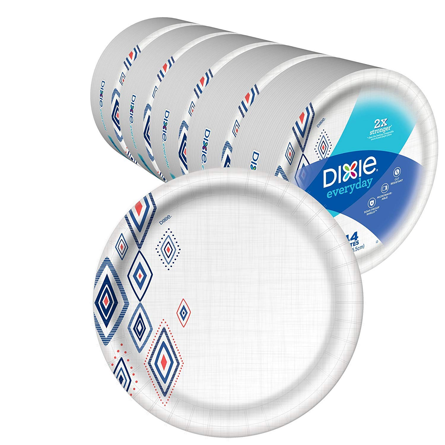 Dixie Everyday Paper Plates,10 1/16'' Plate, 220 Count, Amazon, 5 Packs of 44 Plates, Dinner Size Printed Disposable Plates (Extra Duty Diamond)