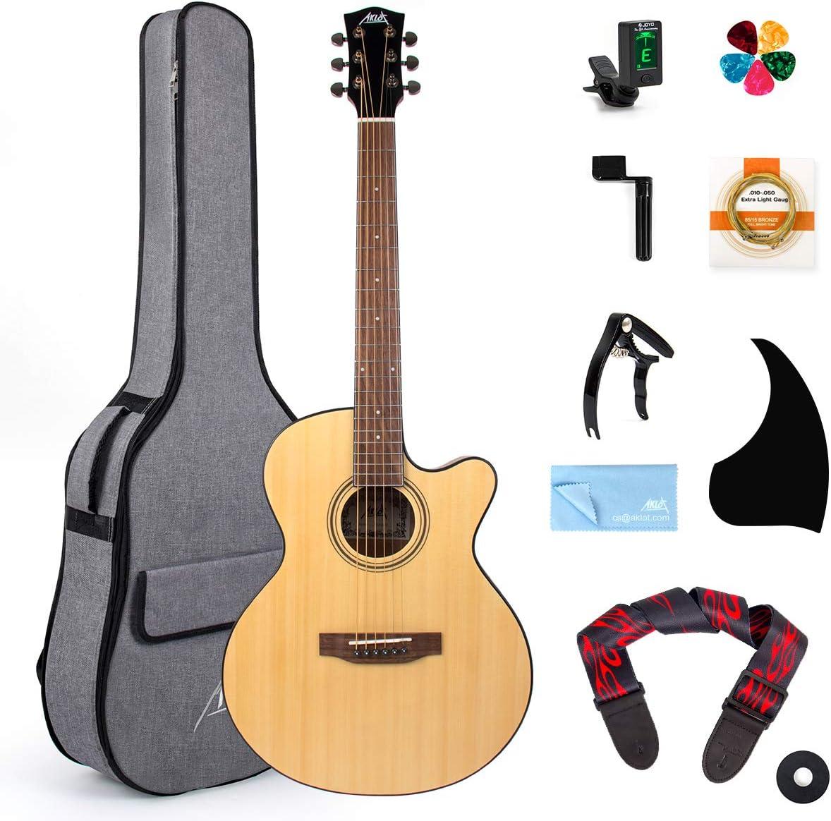 AKLOT Guitarra acústica 38 pulgadas Spruce Cutaway Guitar Bundle para estudiantes Niños principiantes W/Gig Bag Tuner Strap Picks Cuerdas Pickguard Guitar Capo String Winder