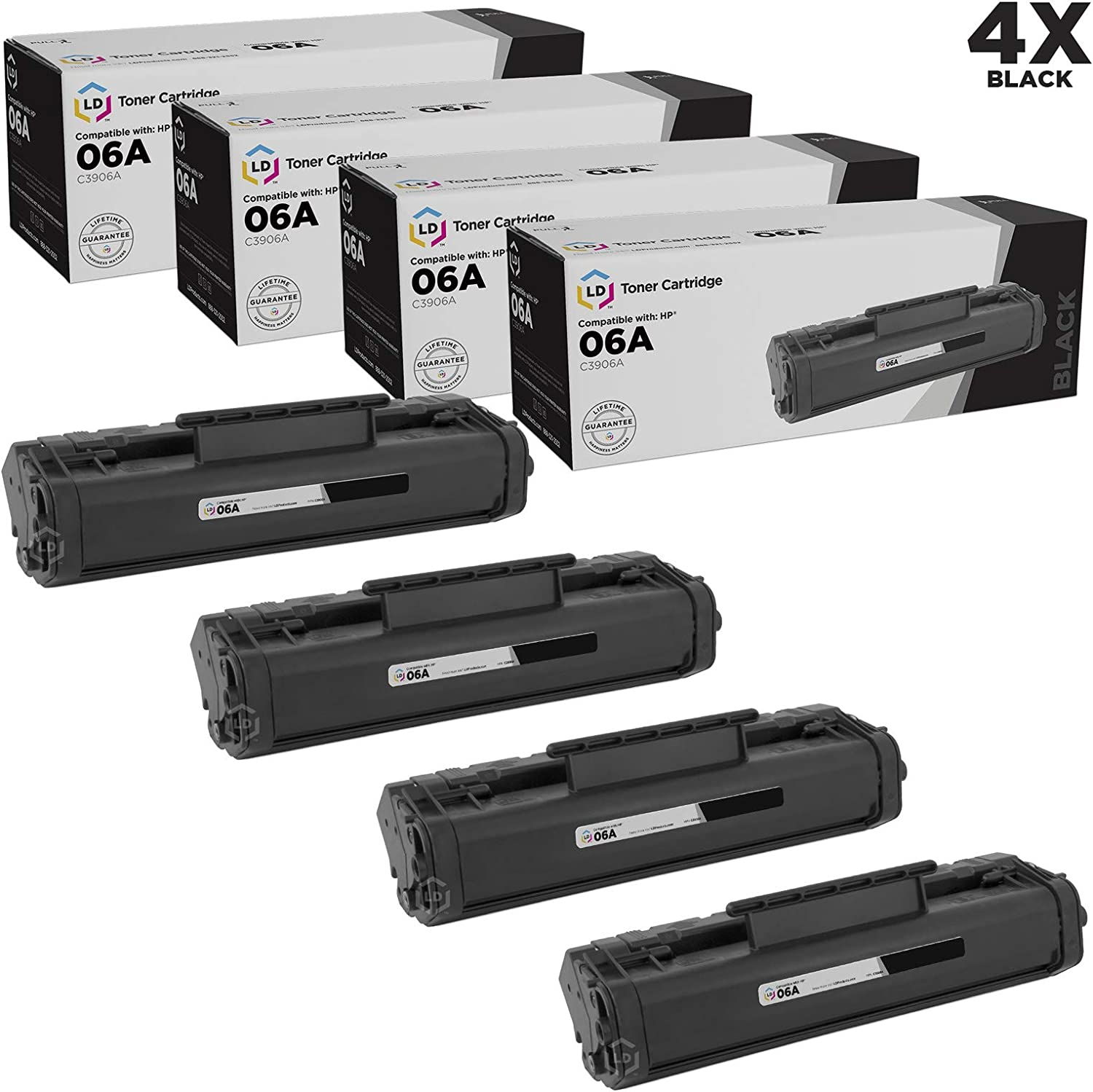 LD Remanufactured Toner Cartridge Replacement for HP 06A C3906A (Black, 4-Pack)