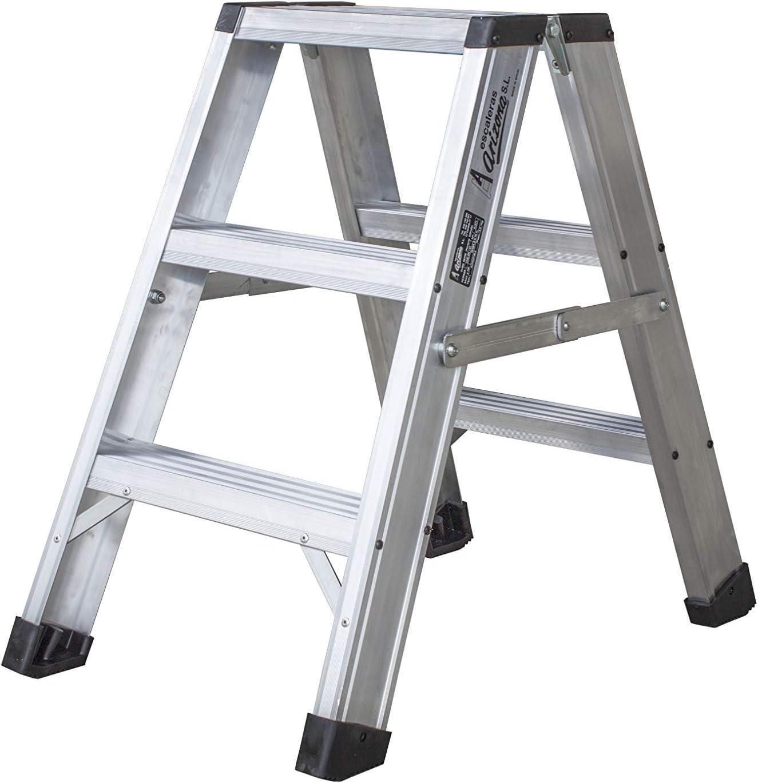 Escalera de tijera de aluminio de doble subida (3 peldaños): Amazon.es: Bricolaje y herramientas